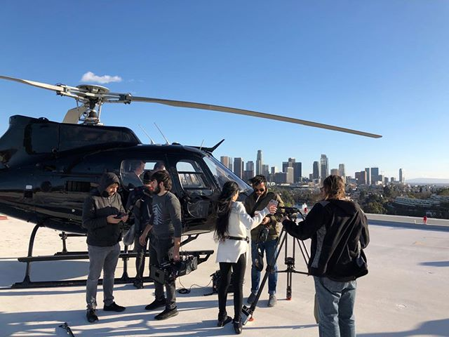 Windy day in LA for some filming. #setlife #bts #helicopter #aerialfilming #arri