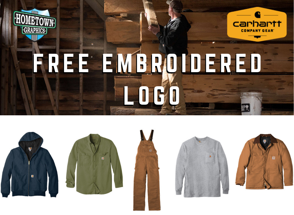 """Purchase 12 or more Carhartt apparel items and have your logo embroidered on the front chest for FREE! - Offer valid until further notice. Setup fees may apply. Good for typical """"left-chest"""" size approximately 3.5"""" wide."""