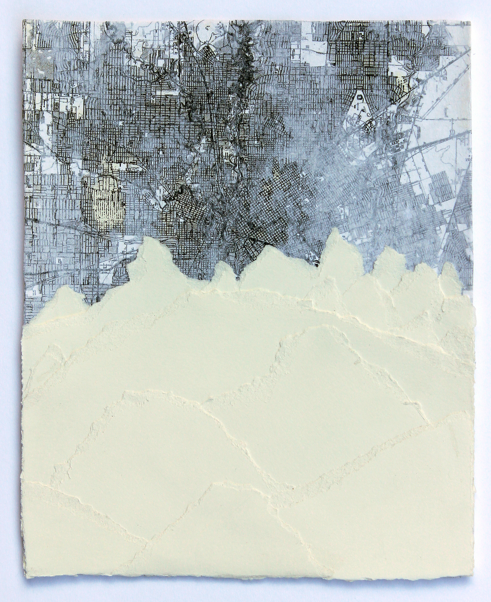 "Tetons 2014 mixed media and collage on paper 9"" x 7"" sold"