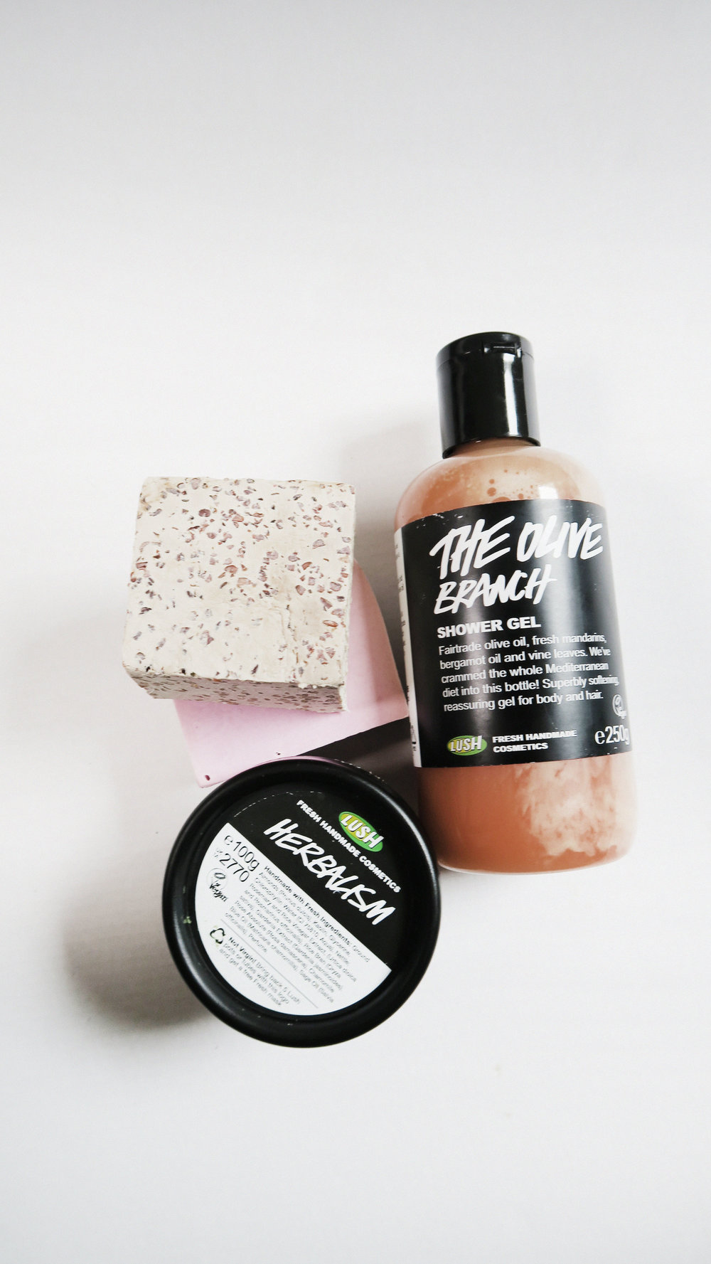 (CLOCKWISE FROM LEFT): LUSH 'ROCK STAR' & 'PORRIDGE' SOAPS, 'THE OLIVE BRANCH' SHOWER GEL, & 'HERBALISM' FACIAL CLEANSER