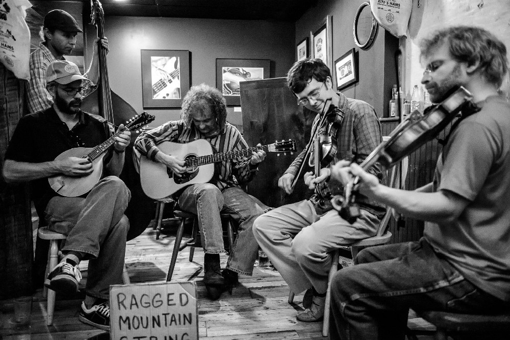 Ragged Mountain String Band is Tucker Rollins, Stavros Calos,Reuben Miller, Chris Leva, Charlie Davis