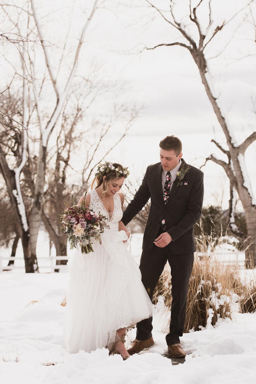raccoon creek winter wedding photography boulder colorado mountains