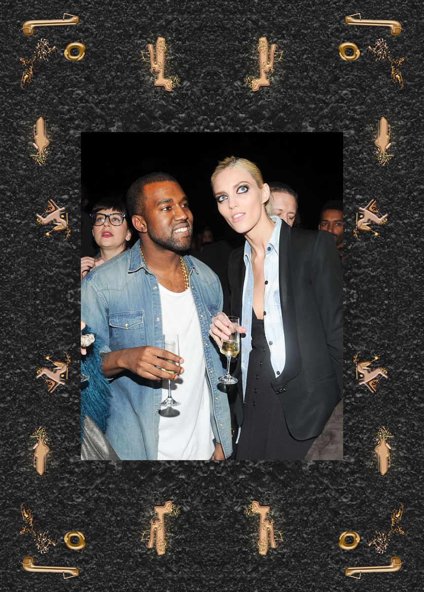 Anja Rubik and Kanye West. Kanye West a/w 12 Aferparty at La Halle Freyssinet, Paris, June 2012. Photo: Joe Schildhorn/bfanyc/Sipa USA ©East News