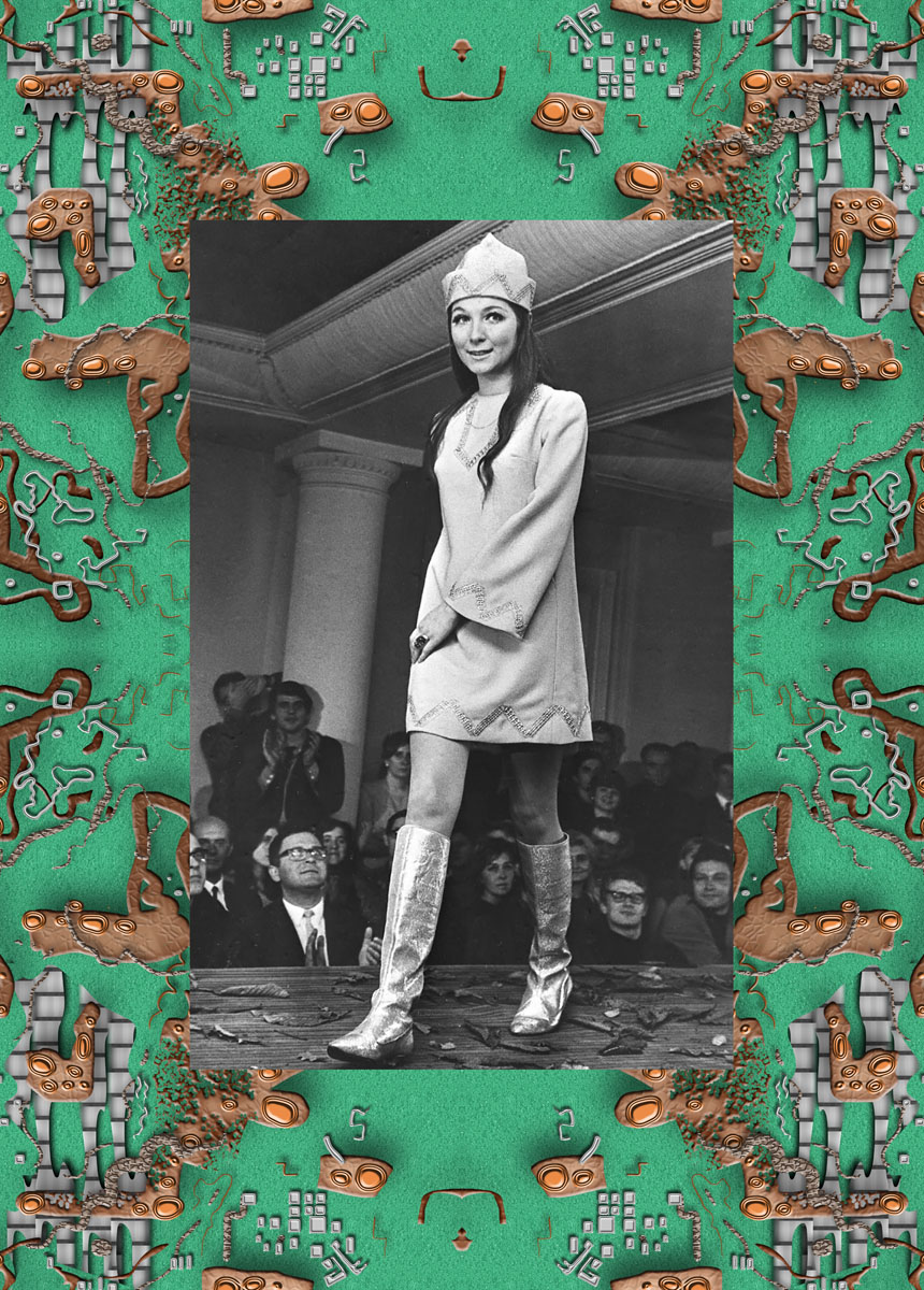 Grażyna Hase's debut collection for Cora fashion house, project 'Rosyjska Carewna'. Show in Dziekanka club, 07.11.1967 in Warsaw. Photo: Cezary Marek Langda ©pap
