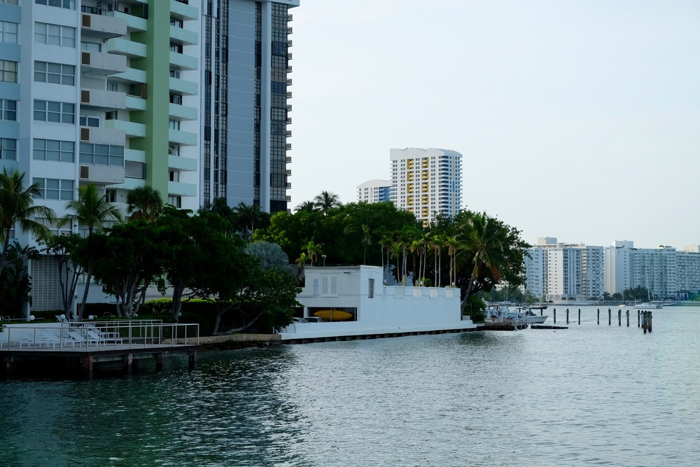 In the Venetian Islands of Miami Beach, you can see new upgraded residential docks some three feet above high tide levels, while the older dock in the background is completely submerged.
