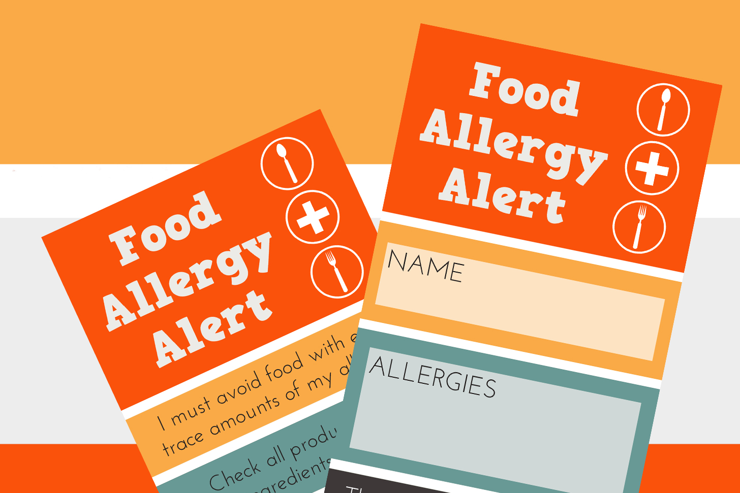 picture regarding Printable Allergy Cards called Meals Allergy Chef Card Printable Kathy Thornburg
