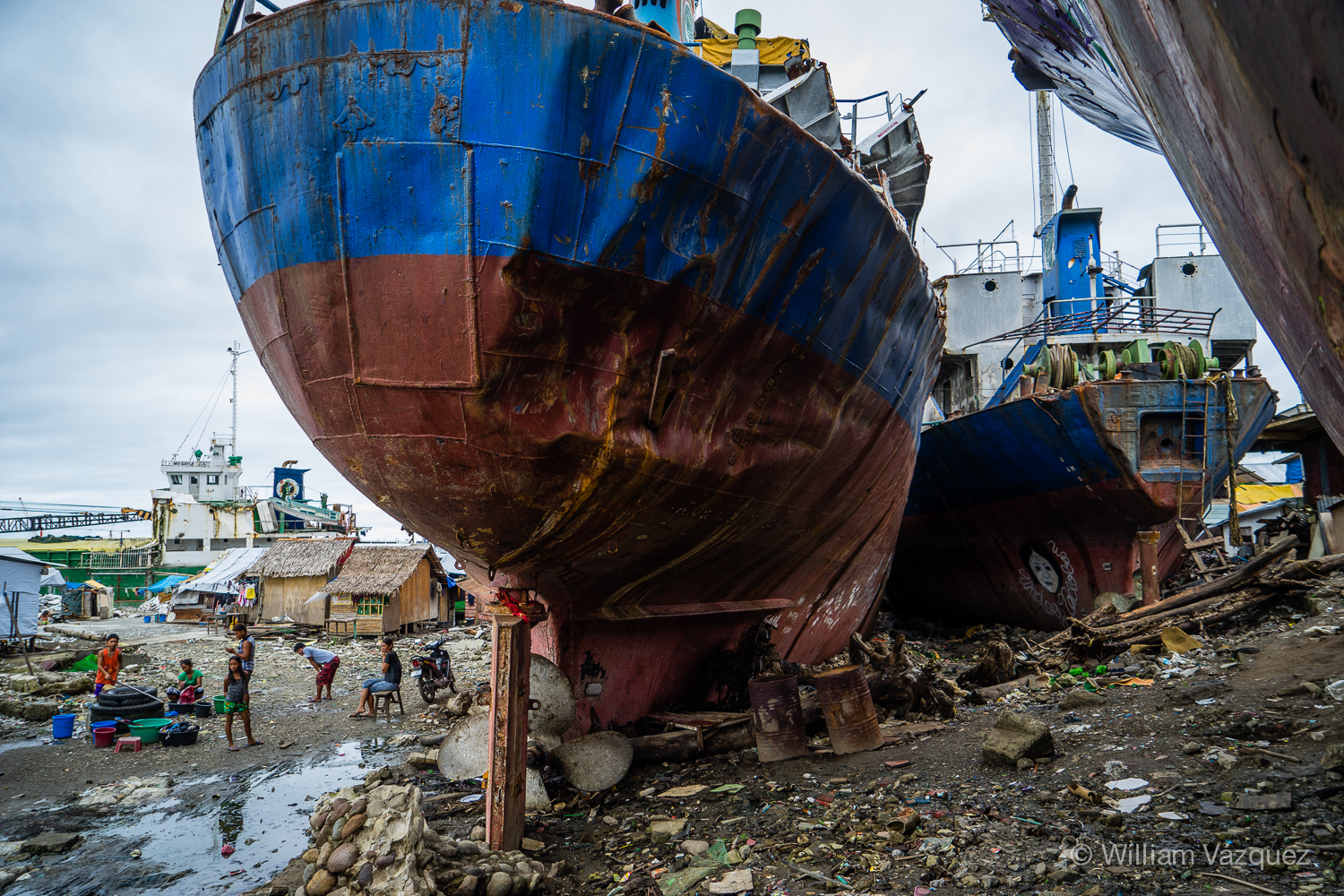 Fishing boats washed ashore in Tacloban, Philippines.