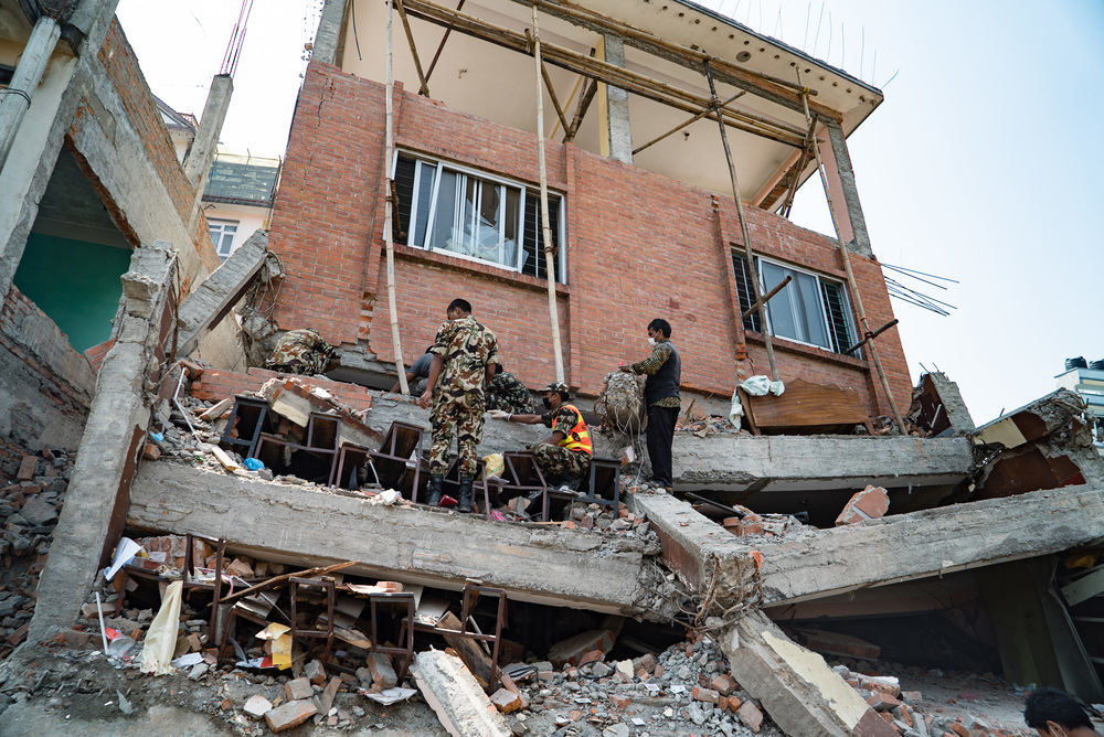 This was a school in Kathmandu. Luckily the earthquake happened on a Saturday.
