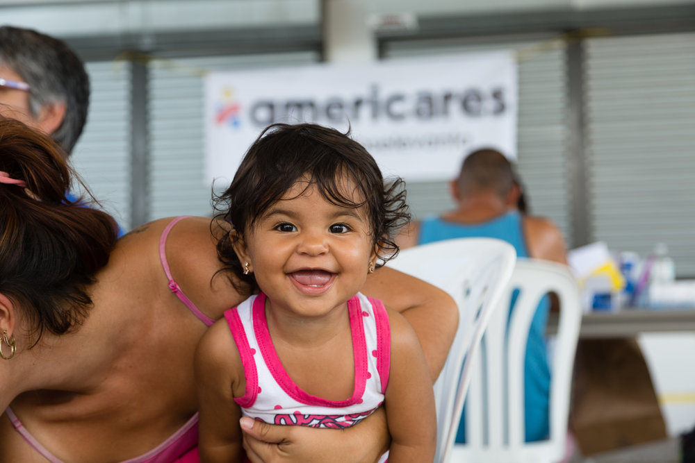 This little girl was at the temporary clinic in the mountains of central Puerto Rico for a check up.