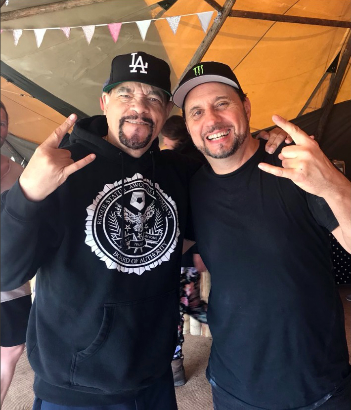 Ice-T of Bodycount backstage at Download with Dave Lombardo.