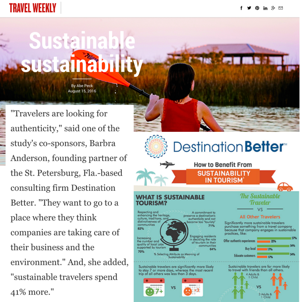 """Destination better is featured in the August 15, 2016 issue. The article """"Sustainable sustainability"""" spotlights the Mandala Research """"The Role of Sustainability in Travel and Tourism"""" study, sponsored by Destination Better and Sustainable Travel International. Read more of the Travel Weekly article at http://bit.ly/2avxgql"""