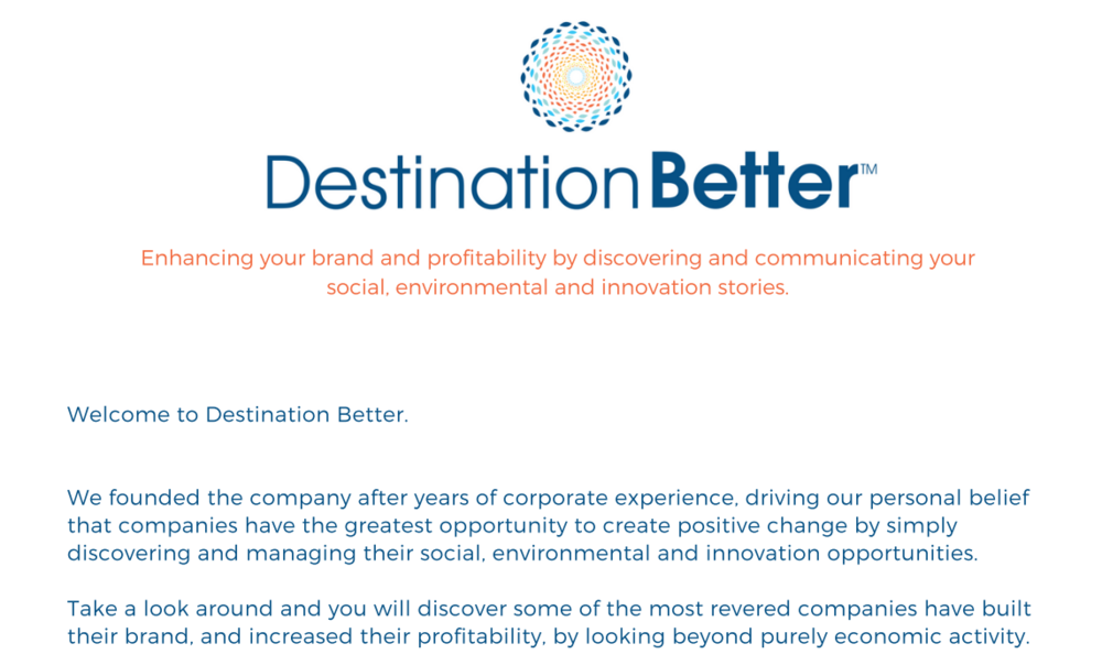 Destination Better welcome letter
