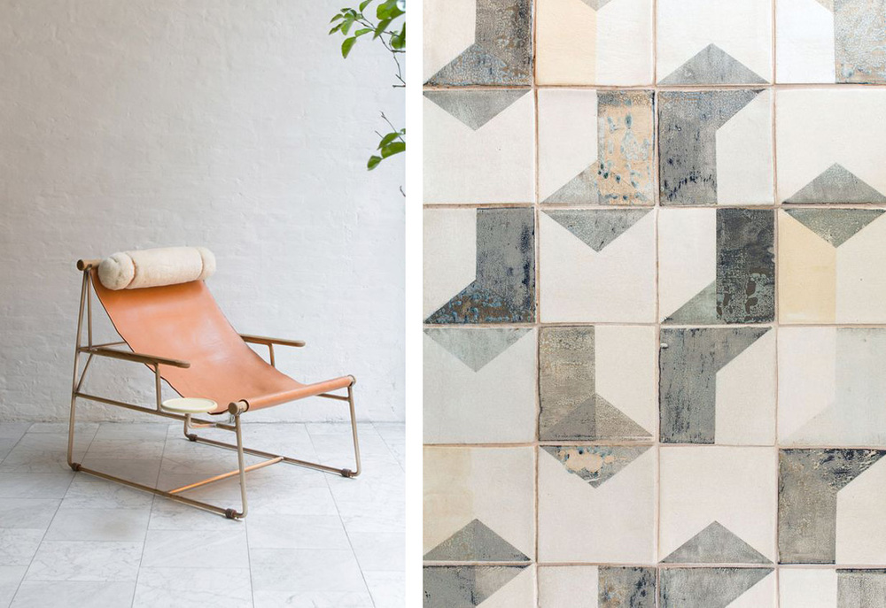 Lounge chair by  BDDW  After Lowry, hand-painted tiles by  Smink Things