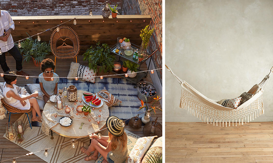 Left Anthropologie Blog  Right Fringed Macramé Hammock from Anthropologie