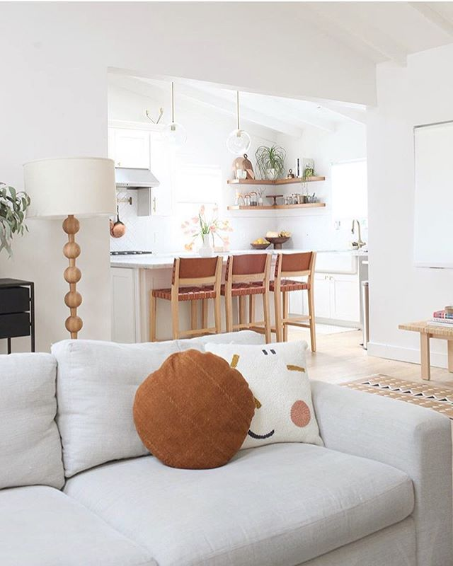 Our pillow spotted from @amanda100lc's beautifully renovated home featured on @dominomag 🧡 #afternoonswimtextile . . #textileart #fiberart #homeinterior #homdecor #lifestyle #interiors #minimaldecor #textiledesign