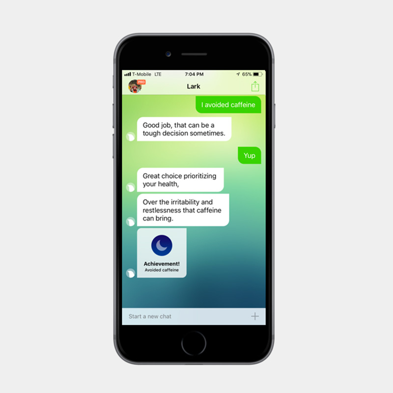 Lark app A.I. providing health coaching.