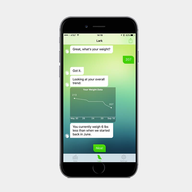Lark health app A.I. providing a graph of weight loss.