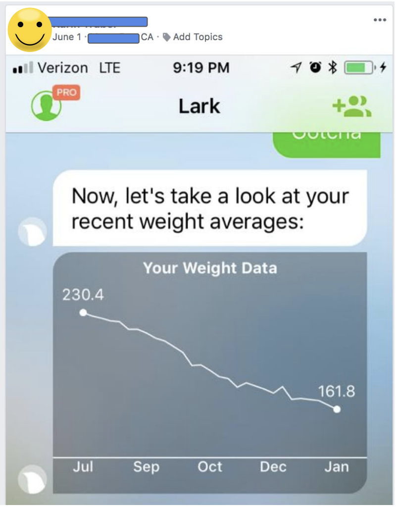 Lark review - 70 pounds down