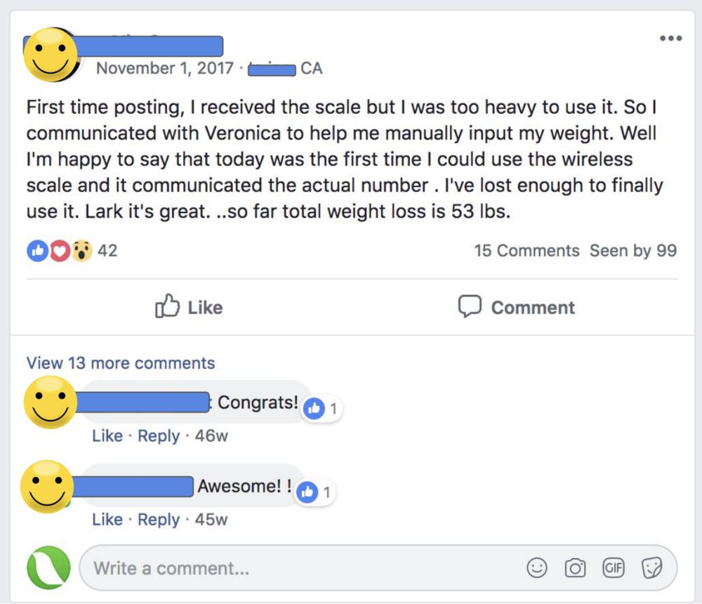 Lark review - 53 pounds down
