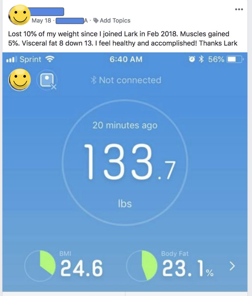 Muscle gained with Lark Health