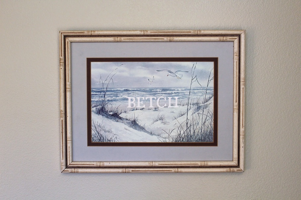 Betch #2    acrylic on found painting   2014    sold