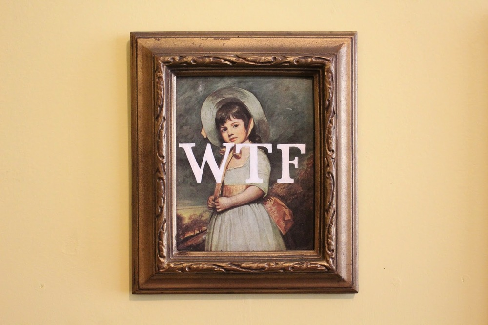 WTF   acrylic on found painting   2014   sold