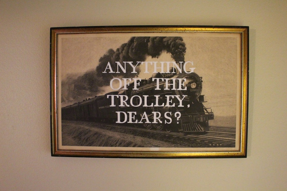 Anything Off The Trolley, Dears?   acrylic on found photograph   2014    sold