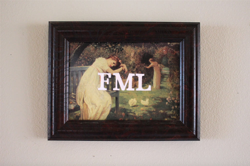 FML   acrylic on found painting   2015    sold