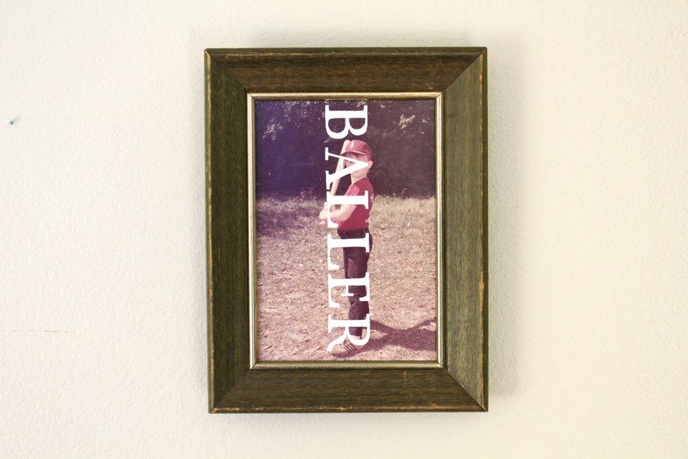 BALLER   acrylic on found photograph   2014    sold