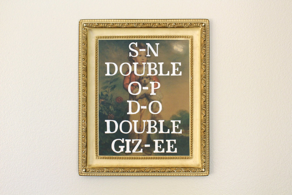 S-N DOUBLE O-P D-O DOUBLE GIZ-EE   acrylic on found painting   2014    sold