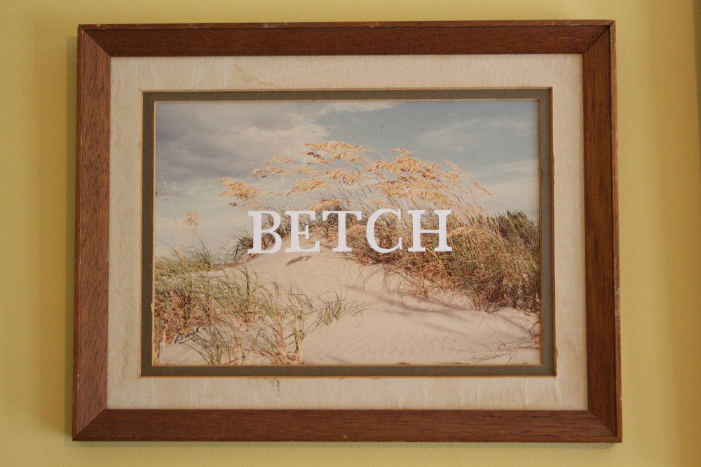 BETCH   acrylic on found painting   2014    sold