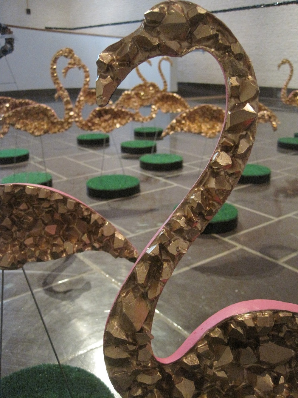 Cluster Flock   cast plastic, acrylic, liquid gold leaf, fingernail polish, steel, artificial grass, wood, spray paint  2013