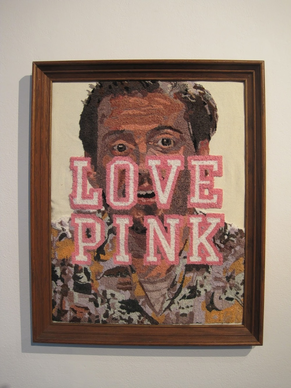 Mr. Pink, Sounds Like Mr. Pussy   punch needle technique with embroidery floss on fabric  2012