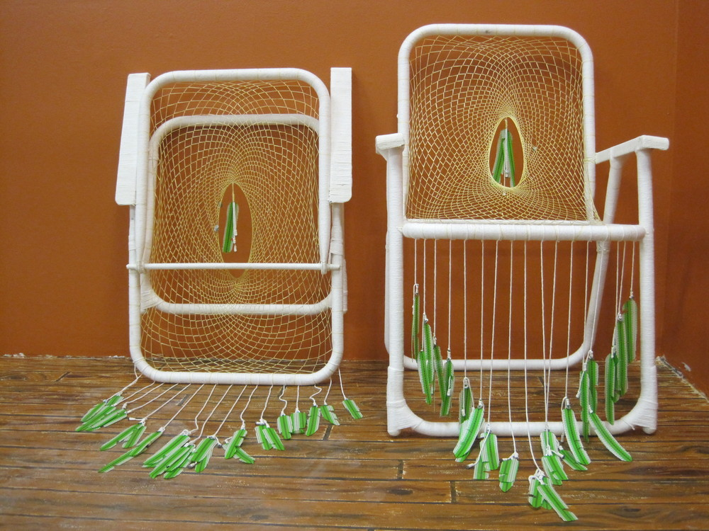 Naive American  lawn chairs, synthetic sinew, string  2011