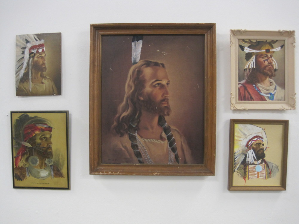 Chief Jesus  acrylic on found paintings  2011