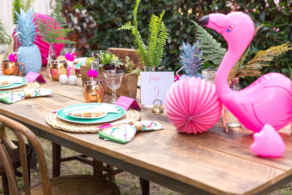 Summer flamingo dinner party inspiration