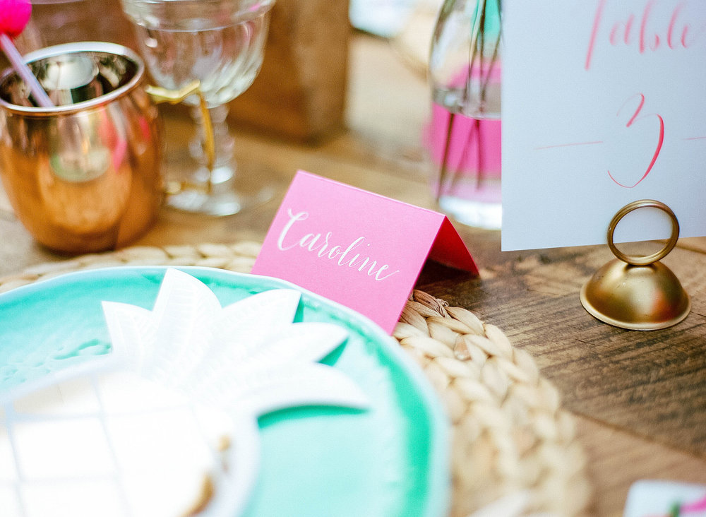 Calligraphy place setting at Flamingle dinner shoot