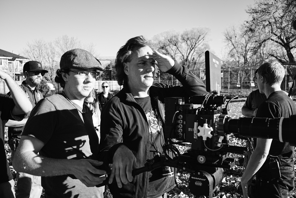 L-R: Laffrey Witbrod (director of photography) and Charles Dye (co-writer/director) setting up a shot.