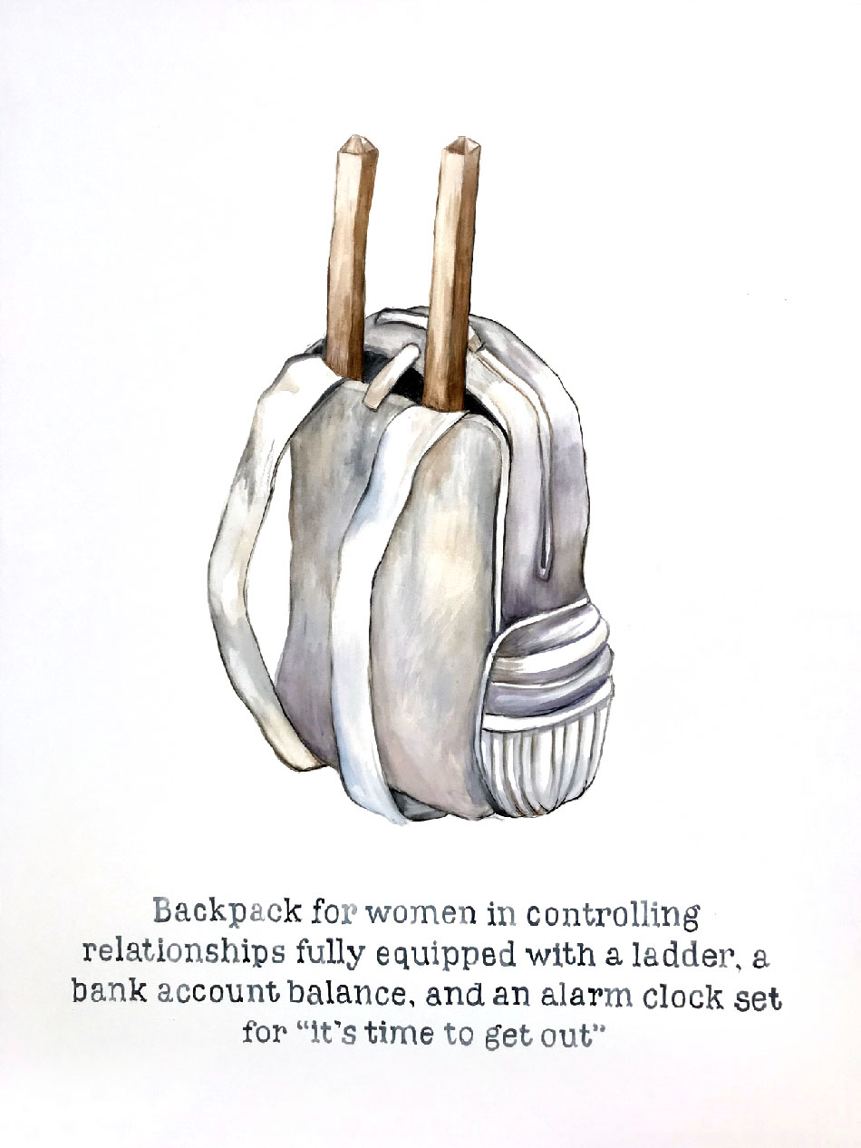 "Backpack for Women, watercolor on canvas, 48 x 36"", 2018"