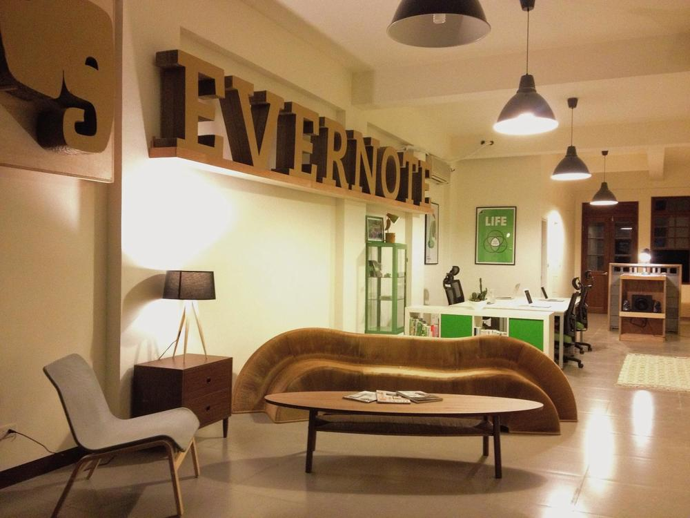 Cardboard furniture at Evernote's Taiwan office