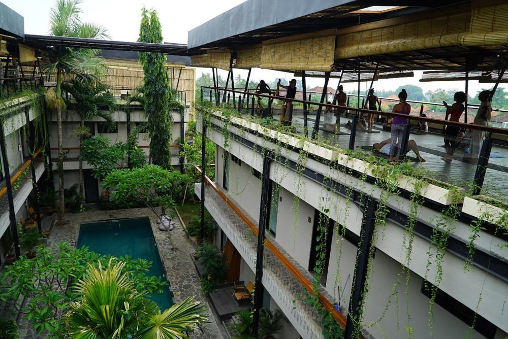 The yoga deck at Roam in Bali