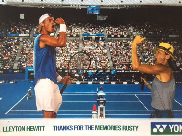 Charmaine at the 2016 Australian Open 'playing' against Lleyton Hewitt he he he……….