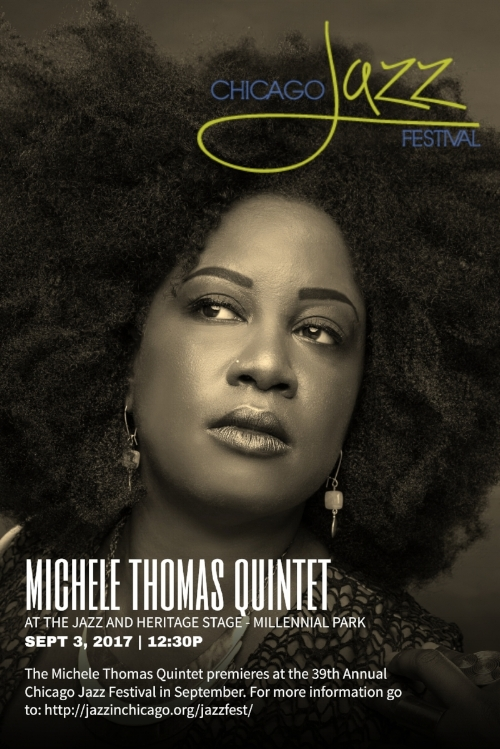 "I can't wait to see you this coming Sunday at the Chicago Jazz Festival! I am so excited to perform for all of Chicago and especially my community! From the Jazz Institute of Chicago: ""The daughter of a preacher, Chicago singer Michele Thomas brings an irresistible gospel-soul warmth to jazz. And, as she demonstrates with her Stevie Wonder covers Messenger, her 2012 album, she applies a sophisticated jazz sensibility to gospel and soul. Messenger was so-named in recognition of her subject's outspoken message songs, including ""Higher Ground,"" to which she brings a timely anger. ""His music not only brings spirits up, but makes you think about what's going on in the world around you,"" she said. For Thomas, that world extends to Sweden, where she taught and performed gospel. Her band SoulMeme features two longtime friends and cohorts in guitarist Neal Alger and drummer Darren Scorza, with whom she cut her teeth as a performer in places like Big Joe's 2 & 6 Pub in Ravenswood Manor. They will be joined today by pianist Matt Nelson and the immaculate bassist Clark Sommers."" See show calendar for more details..."