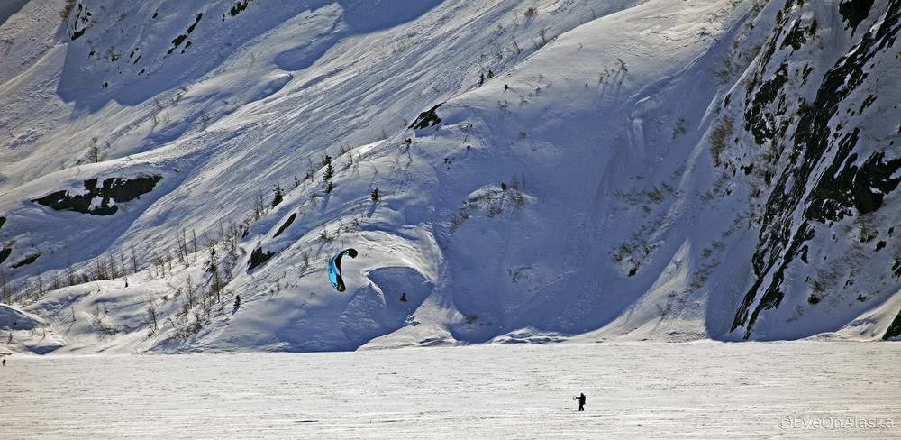 Kite boarding, Alaska style.