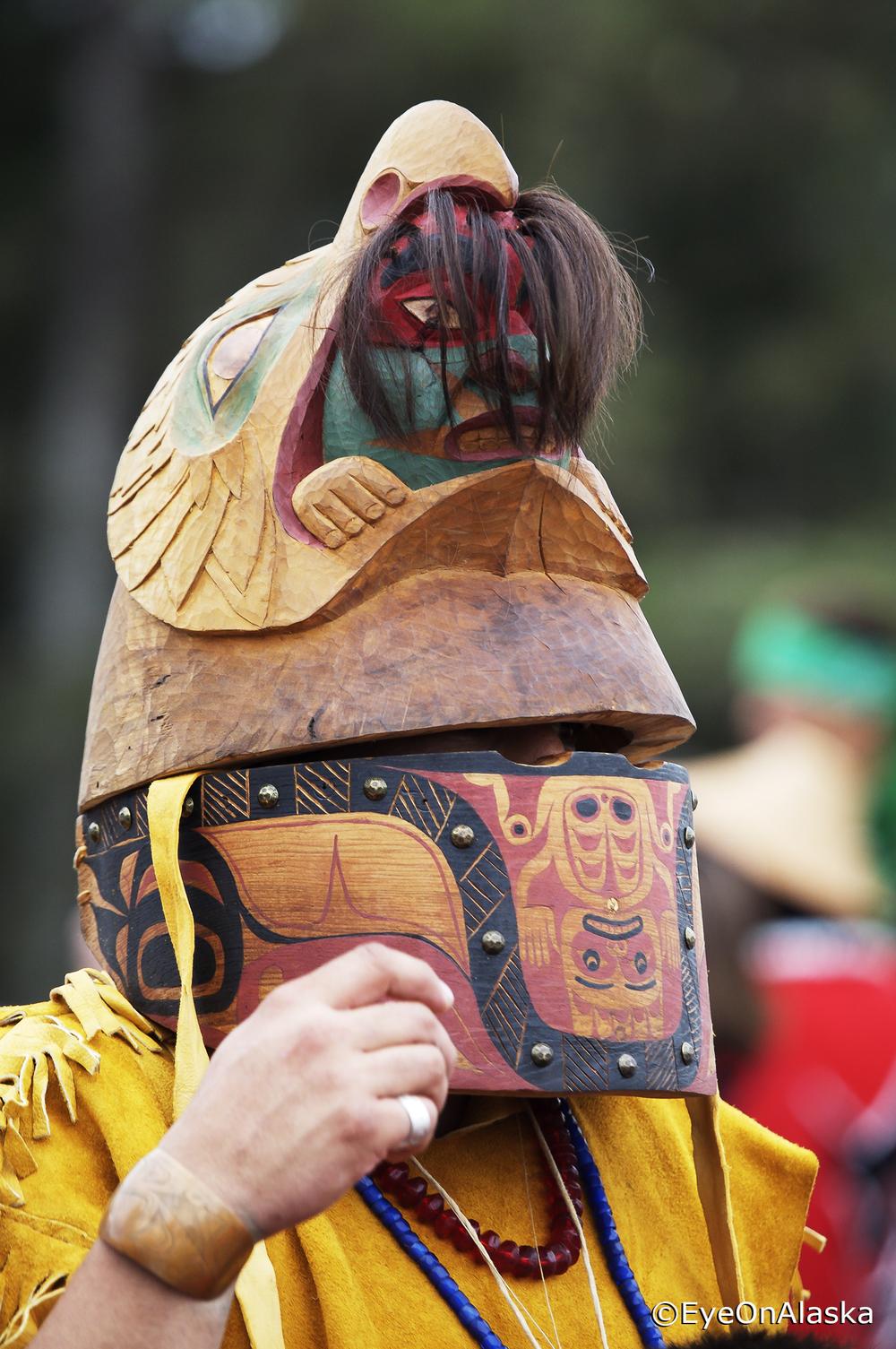 Tlingit war helmet, Klawock, POW Island.
