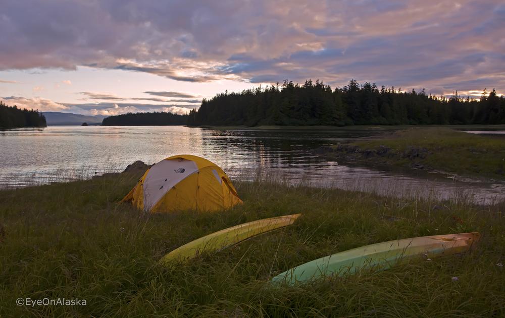 Sunset campsite, SE Alaska.