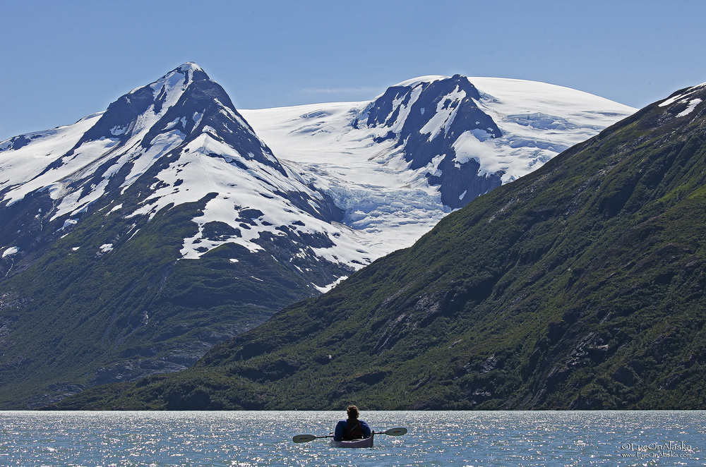 Kayaking towards Portage Glacier