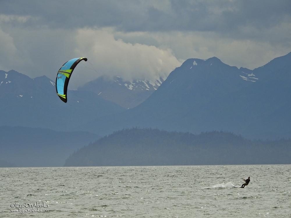Kite boarding Alaska style.