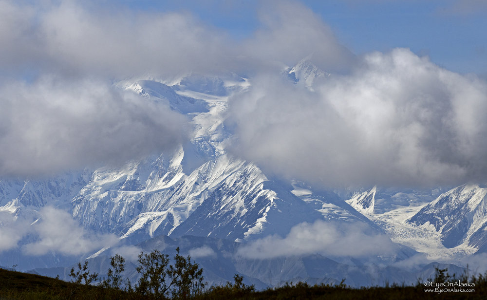 This is what greeted us our second morning as we biked five miles from Highway Pass over Stoney Overlook.  Denali is out for us once again.  Our luck has been incredible this year.