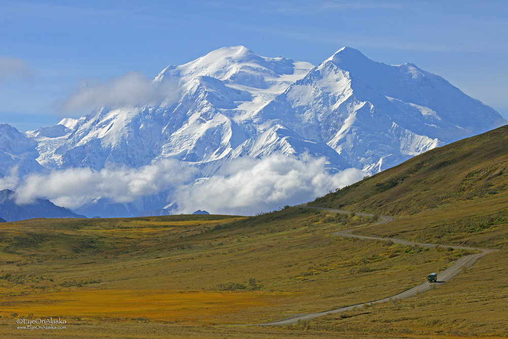 The iconic Denali and shuttle bus shot.
